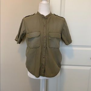 Obey Green military style blouse.